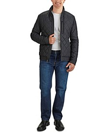 Men's Diamond Quilt Jacket with Faux Sherpa Lining