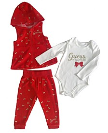 Baby Girls 3 Piece Set.  Velour Vest and Pull on Jogger with Long Sleeve Bodysuit.