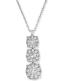 Diamond Trio Halo Pendant Necklace (1/2 ct. t.w.) in 14k White Gold