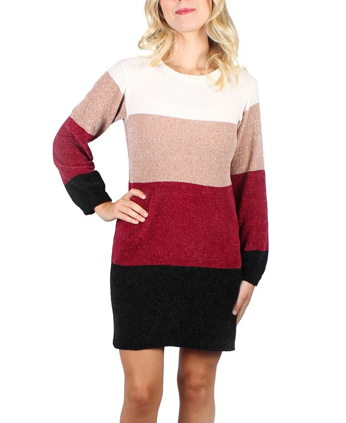Crystal Doll - Juniors' Striped Chenille Sweater Dress