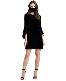 Velvet Bell-Sleeve Shift Dress & Face Mask