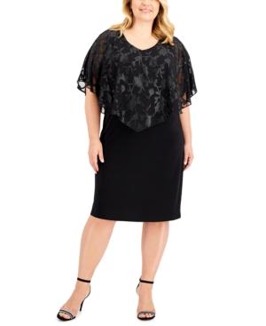 Plus Size Metallic Jacquard Overlay Dress