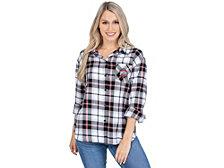 UG Apparel Ohio State Buckeyes Women's Flannel Boyfriend Plaid Button Up Shirt