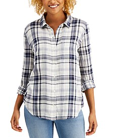 Cotton Plaid Button-Down Shirt, Created for Macy's
