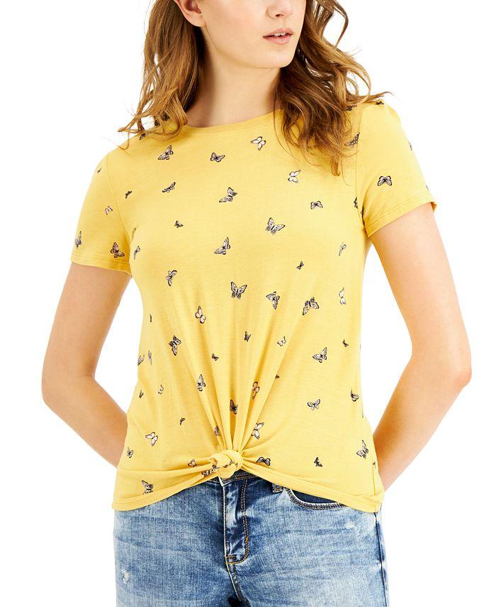 Self Esteem - Juniors' Butterfly Printed Knot-Front T-Shirt