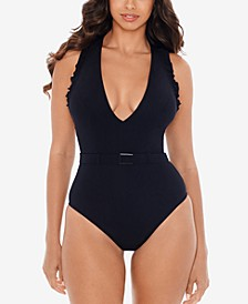 Jelly Beans Belted Ruffle Tummy Control One-Piece Swimsuit