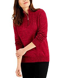 Karen Scott Cotton Mock Neck Sweater, Created for Macy's