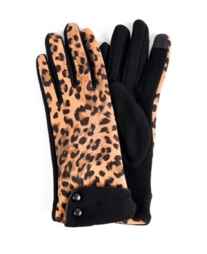 Women's Leopard Jersey Cuff Touchscreen Glove