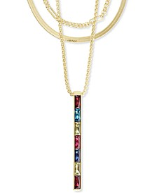 "14k Gold-Plated Multicolor Baguette-Cut Nano Gem Layered Long Pendant Necklace, 28"" + 2"" extender"