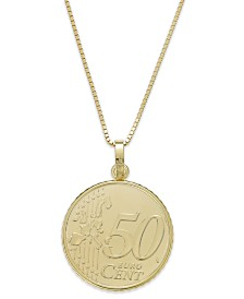 Vermeil Engraved Euro Coin Pendant Necklace