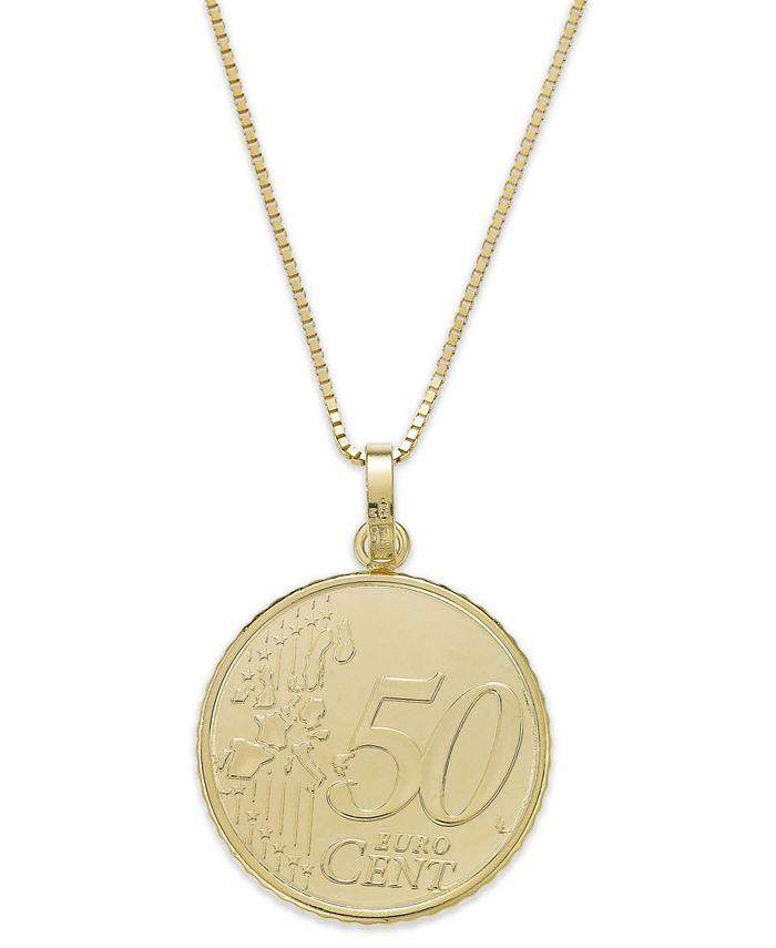 Italian Gold - Vermeil Engraved Euro Coin Pendant Necklace