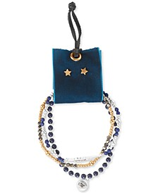 Two-Tone 4-Pc. Set Pavé Beaded Stretch Bracelets & Star Stud Earrings