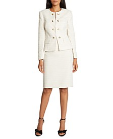 Tahari Collarless Faux-Double-Breasted Skirt Suit