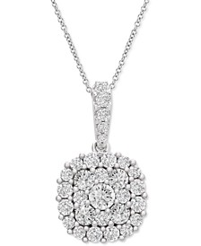 Certified Diamond Halo Cluster Adjustable Pendant Necklace (2 ct. t.w.) in 14k White Gold