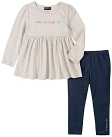 Toddler Girl Knit Tunic with Faux Knit Denim Legging, 2 Piece Set