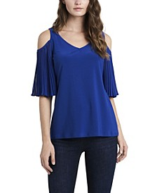 Women's Cold Shoulder Mix Media Top