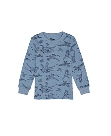 Little Boys Long Sleeve All Over Graphic Print Thermal