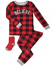 Toddler Boys 2-Piece Holiday Buffalo Check Pajama Sock Set