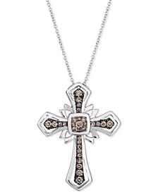 "Chocolatier® Chocolate Diamond Cross 18"" Pendant Necklace (1/3 ct. t.w.) in 14k White Gold"