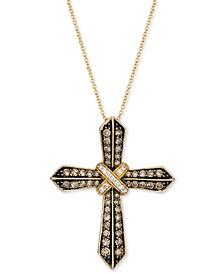 "Nude Diamond (1/10 ct. t.w.) & Chocolate Diamond (7/8 ct. t.w.) 18"" Cross Pendant Necklace in 14k Gold"