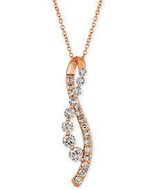 "Nude Diamond Abstract 18"" Pendant Necklace (7/8 ct. t.w.) in 14k Rose Gold"