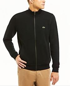 Men's Classic Fit Long Sleeve Solid Full-Zip Fleece Pique Sweatshirt