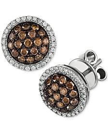 Chocolate Diamond & Vanilla Diamond Ring Halo Cluster Stud Earrings (3/4 ct. t.w.) in 14k White Gold
