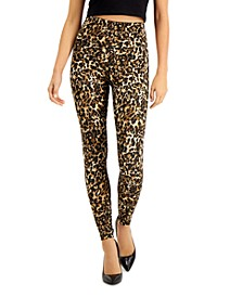 INC Leopard-Print Compression Leggings, Created for Macy's