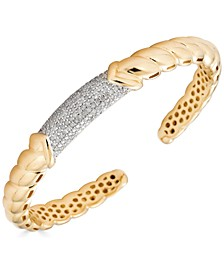 Diamond Pavé Textured Cuff Bracelet (7/8 ct. t.w.) in Gold-Plated Sterling Silver