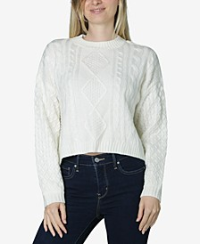 Juniors' Cropped Cable-Knit Sweater