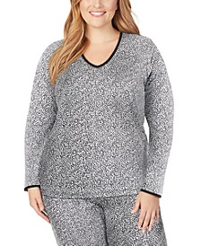 Plus Size Softwear Lace-Edge Long-Sleeve V-Neck Top