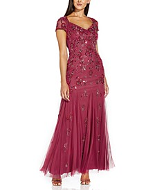 Cutout-Back Embellished Gown