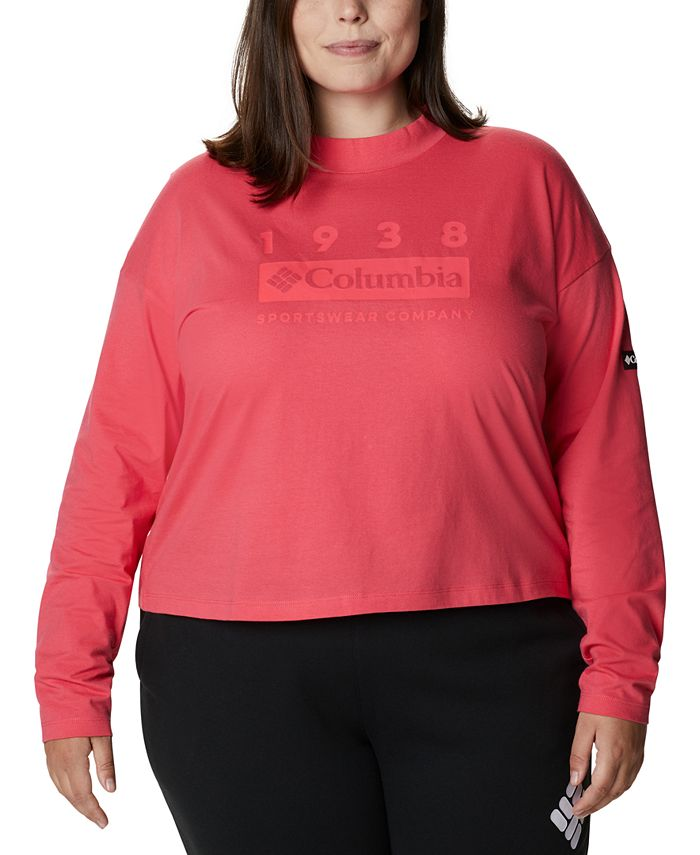Columbia - Plus Size Cotton Lodge Mock-Neck Logo-Graphic T-Shirt