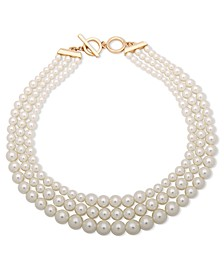 Three Row Gradulated Pearl Collar Necklace, 18.5""