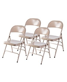 Full Metal Curved Triple Braced Folding Chair, Set of 4