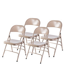 Bold Tones Full Metal Curved Triple Braced Folding Chair, Set of 4