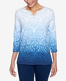 Alfred Dunner Women's Plus Size Denim Friendly Skin Ombre Medallion Top