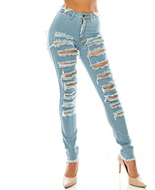 High-Rise Curvy Destructed Skinny Ankle Jeans