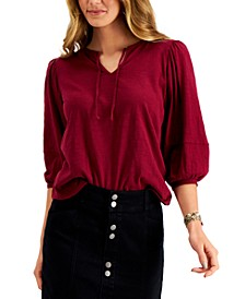 Petite Balloon-Sleeve Cotton Top, Created for Macy's
