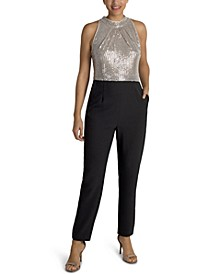 Sequinned-Bodice Jumpsuit