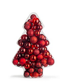 Christmas Cheer Set of 100 Red Glitter Shatterproof Box Ornaments, Created for Macy's
