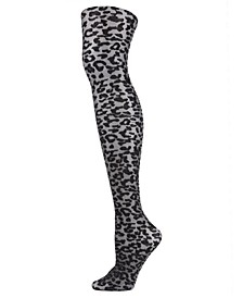 Women's Leopard Print Shimmer Sheer Tights