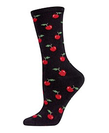 Cherry On Top Cashmere Blend Women's Crew Socks