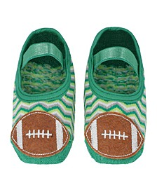 Little Boys and Girls Anti-Slip Cotton Socks with Football Applique