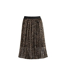Women's Plus Size  Zebra Mesh Pleated Skirt
