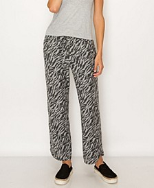Women's Zebra French Terry Vent Hem Pocket Pant