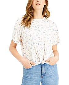 Juniors' Floral-Printed Knot-Front Ringer T-Shirt