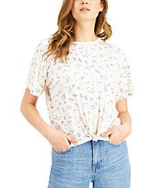 Self Esteem Juniors' Floral-Printed Knot-Front Ringer T-Shirt
