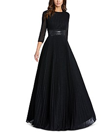 Embellished-Waist Pleated-Skirt Gown
