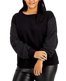 INC Plus Size Sequin-Sleeve Sweatshirt, Created for Macy's